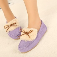 New Fashion Plush Leather Female Cotton-padded Shoes Peas Shoes Bow Moccasin Winter Tide Lazy Shoes = 1748267972
