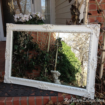 "WHITE PAINTED MIRROR Distressed Ornate Mirror The Shabby Chic Furniture Apartment Beach Cottage 25"" x 37"""