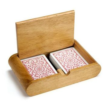 2 Deck (Poker and Bridge Size) Wooden Card Box