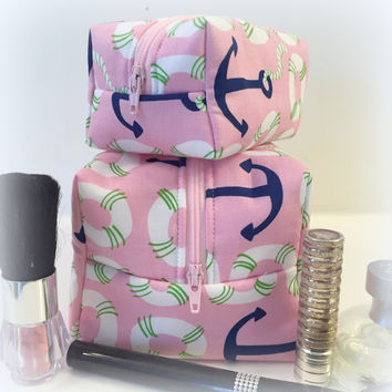 Pink Anchor Makeup Bag Set, Mommy and Me Makeup Set, Monogram Available