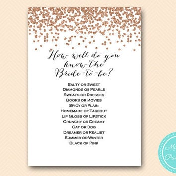 how well do you know the bride game printable, Rose Gold Confetti Bridal Shower, Bachelorette, Wedding Shower BS155