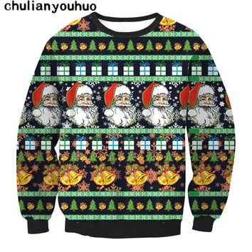 Chulianyouhuo Christmas Sweater Women Santa Claus X-mas Tree Reindeer Patterned Sweaters Middle Long Pullovers Print Sweater