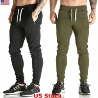 US Fashion Fitness Men Summer Casual Long Sports Trousers Slim Jogger Sweatpants
