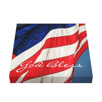 American Flag- God Bless Wrapped Canvas Print