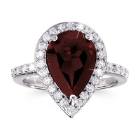 Sterling Silver 4-Carat Genuine Garnet Pear Ring