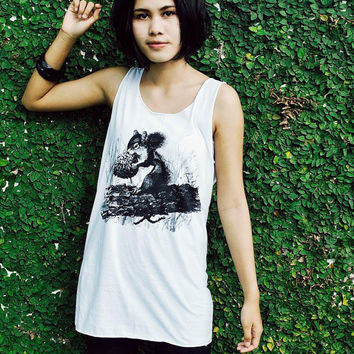 Squirrel Tank Top - Unisex Shirt Animal Screenprint Tank top t-shirt sleeveless vest unisex tank top.