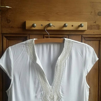 Ethnic hippie blouse festival clothing folk tops white shirts embroidery summer whites moroccan style tunic womens Dolly Topsy Etsy UK
