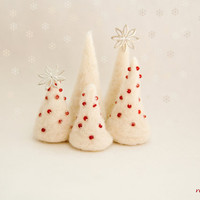 Set of 5 needle felted trees, Christmas decoration, Winter home decor, white and red, stocking stuffer