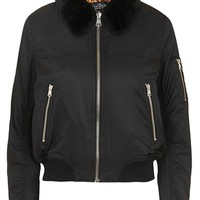 Topshop 'MA1' Bomber Jacket with Faux Fur Collar (Petite) | Nordstrom