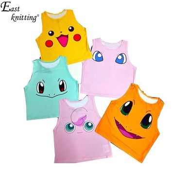 Pokemon Pattern Crop Top Women Camis Pikachu Charmander Squirtle Print Tank Tops