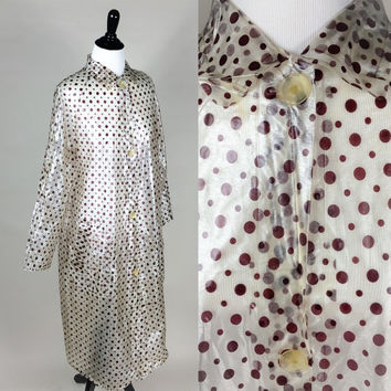 Miriam raincoat // 50s clear frosted brown polka dot vinyl raincoat slicker // matching kerchief hood & pockets // size L