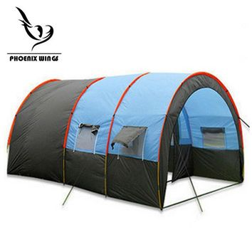 Tunnel 10 Person Tents Large Camping tent Waterproof Canvas Fiberglass 5-8 People Family equipment outdoor mountaineering Party