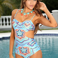 Blue Tribal Design Padded Sexy One Piece Monokini Swimsuit