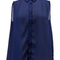 Navy Sleeveless Chiffon Button Down Blouse