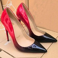 Christian Louboutin Trending Ladies Edgy Pointed Gradient Color Heels Shoes I