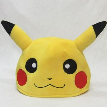 Top Anime Pokemon Pocket Monsters Pikachu Logo Cotton Hat Winter Warmer Beanie Cap Costume Ball Cosplay Gift New Arrival