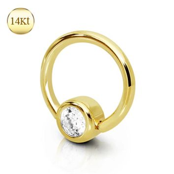 14Kt Yellow Gold Captive Bead Ring with Gemmed Ball