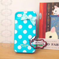 Kate Spade Tiffany Blue iPhone Case Cover Plastic iPhone 4 Case Polka Dot Cell Phone Case Bow iPhone 4s Case Personalized Phone Case Cover