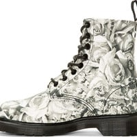 Grey Canvas Skull & Rose Print Becket 8-Eye Boots