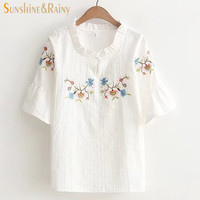 Japanese spring summer hedging ruffles floral embroidery collar shirt ladies half flare sleeve stripe women ruffles blouses