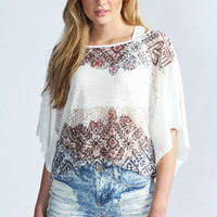 Julie Lace Print Chiffon Back T-Shirt