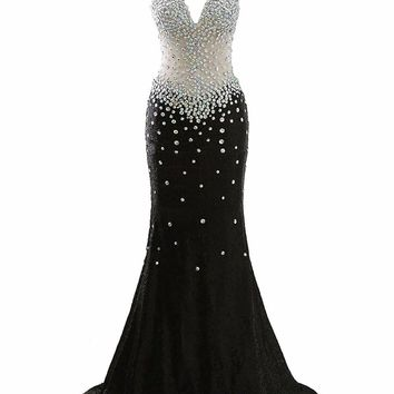 Sexy Mermaid Prom Dress Black Evening Dress Long Woman Party Gown V Neck Cap Sleeves Open Back Luxury Beading Plus Size Formal