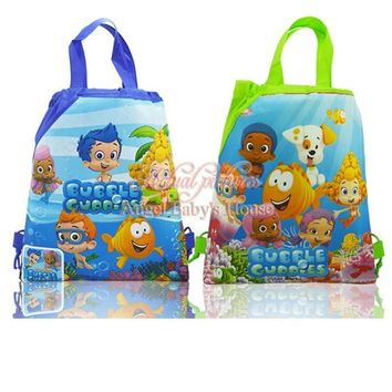 Novelty 24pcs Bubble Guppies Cartoon Children Drawstring Backpacks 34*27cm Kids party Gift School Party Bags