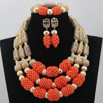 Amazing Red Coral Beads, Necklace, earrings and Bracelet