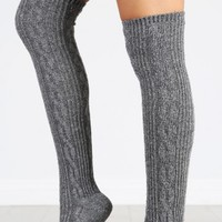 Cable Knit Over The Knee Socks | MakeMeChic.com