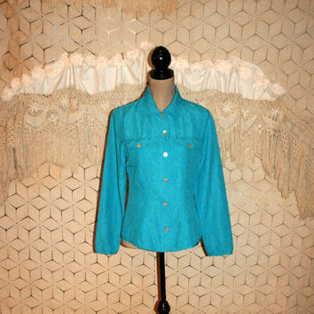Turquoise Blue Silk Blouse Tailored Shirt Long Sleeve Button Up Blue Blouse Blue Shirt Silk Shirt Chicos Size 6 Blouse Small Womens Clothing