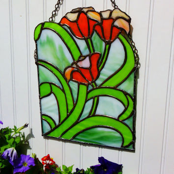 Lilies Stained Glass Panel Sun Catcher, Orange, Green Stained Glass