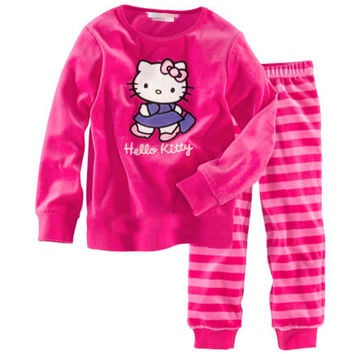 new cotton Long sleeve girl's pajamas sets kid's sleepcoat children's pyjamas girls nightgown Cartoon pink fashion