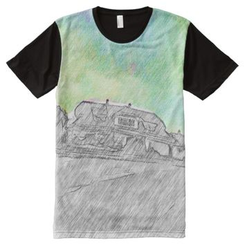 black white House and sky with color drawing All-Over-Print T-Shirt