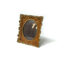 Vintage ornate small rusty metal photo frame, small rusty scroll metal photo frame