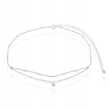 Double Strand Beaded Choker, Clear CZ