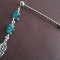 Turquoise Feather Industrial Barbell Piercing Beaded Leaf Charm Dangle Bar