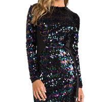 DRESS THE POPULATION Ryan Long Sleeve Sequin Dress in Black