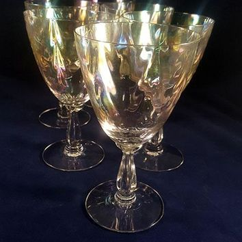 Fostoria Iridescent Shell Pearl Crystal Wine/Water Goblets