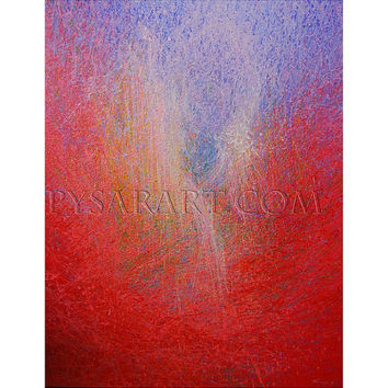"Red Abstract Art Print - abstract ballerina print of acrylic painting - canvas art  40x50cm / 15,7"" x 19.7"""