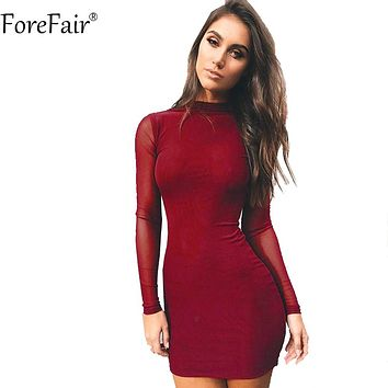 ForeFair Long Sleeve Mesh Sexy Dress Women Autumn 2018 High Neck Wrap Short Club Party Dress Winter