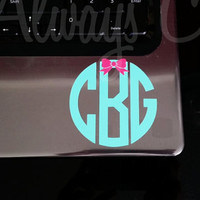 Dainty Circle Monogram decal with Bow