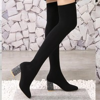 2018 Stretch Fabric Over The Knee Boots Women Sexy Square Toe Thigh High Boots Black Ladies High Heels Shoes Sock Boots WB-1394