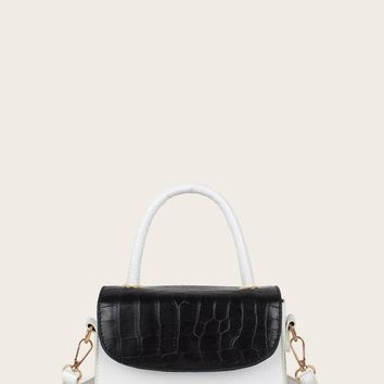 Two Tone Croc Embossed Flap Satchel Bag