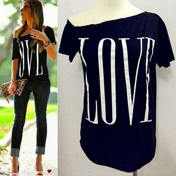 CREYYN6 Women cute LOVE letters print T shirt short sleeve off shoulder shirts camisas femininas casual solid plus size tops