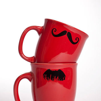 Moustache Coffee Cups by Kimay on Etsy