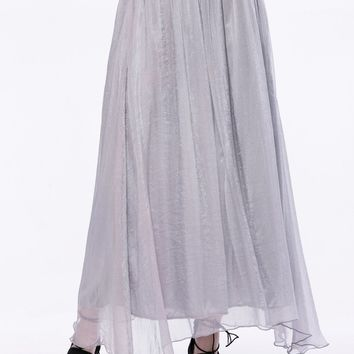 Streetstyle  Casual Flowing Solid Flared Maxi Skirt