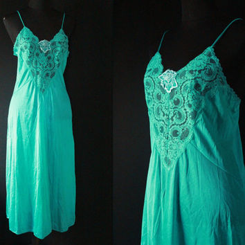80s Vintage LINGERIE Nightgown slip Teal Green NEGLIGEE Sleep wear Pajamas Babydoll Nighty medium small epsteam spaghetti straps lingerie