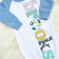 sweet sprouts boy personalized name monogram raglan sleeve gown hospital going home outfit
