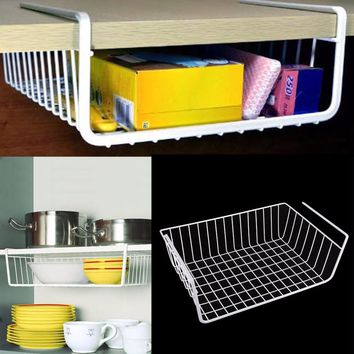 1 pcs New Kitchen Under Shelf Storage Basket Lightweight Metal Organiser Rack