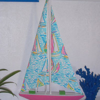 "Large 31"" Sail boat accented with Lilly Pulitzer You Gotta Regatta Sails"
